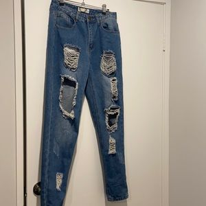 Womens distressed ripped blue jeans size 10